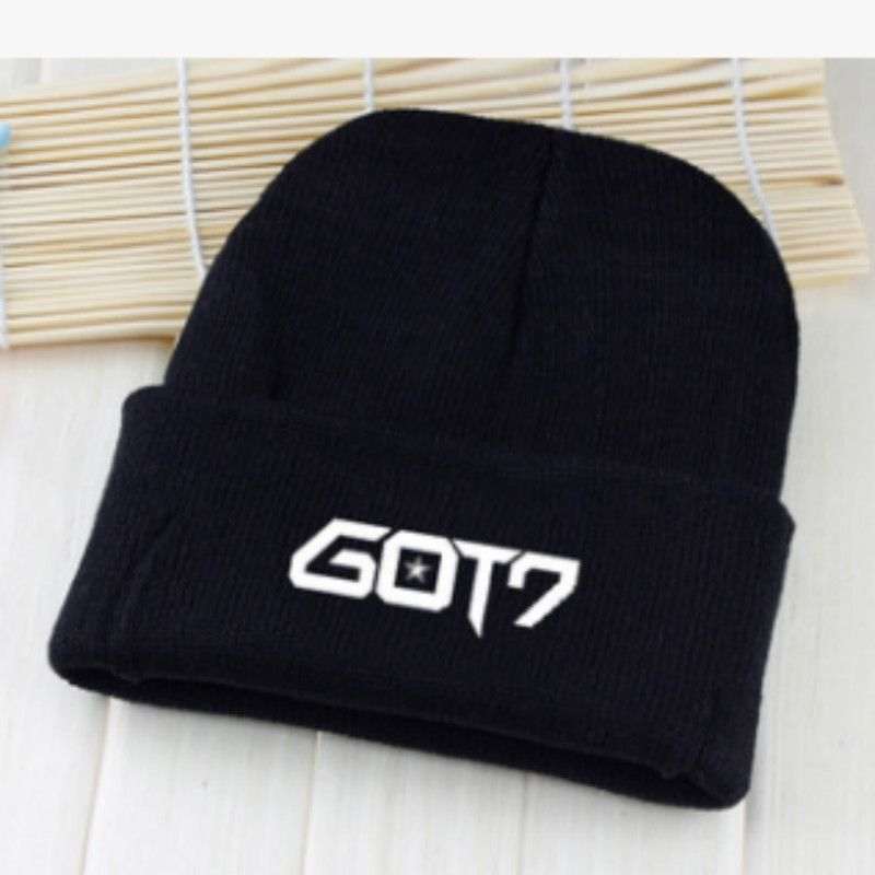 e6e5a451236 KPOP winter GOT7 Baseball cap Hip-hop men women Cotton Korean version Satin  crimping Letter printing black Wool cap Knitted hat