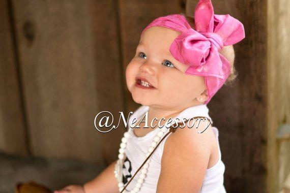 Pink Baby Turban  Baby Bow Headband  Baby Bow by NeAccessory