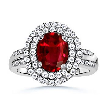 Angara Oval Ruby Engagement Ring in 14k White Gold D105WiKZ