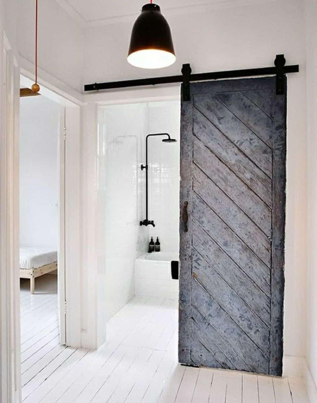 Different Types Of Bathroom Doors With Images Minimalism Interior Old Barn Doors Interior Barn Doors