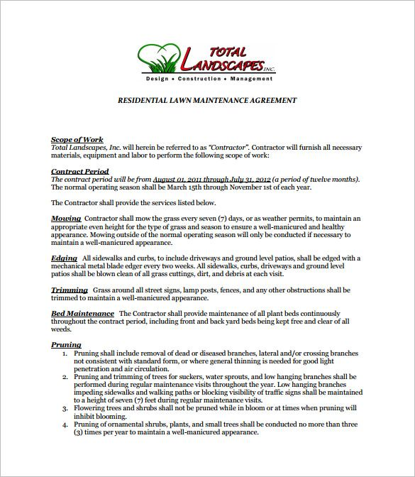 7+ Lawn Service Contract Templates \u2013 Free Word, PDF Documents - sample maintenance contract template
