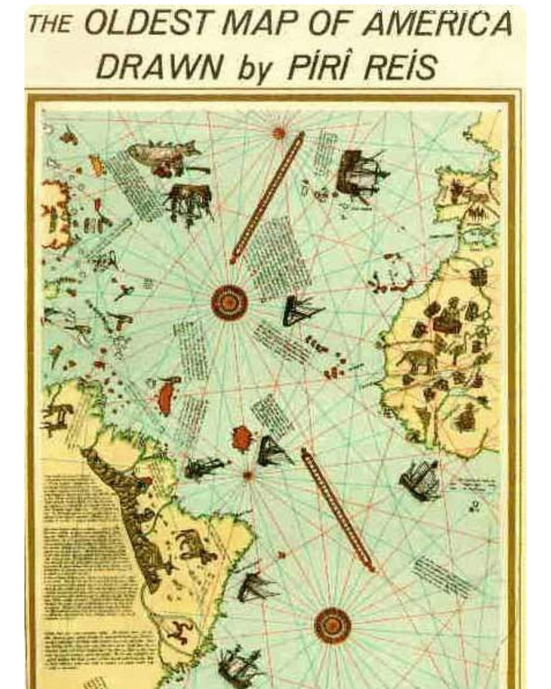 Piri Reis Bey Map 1513 Admiral of the Ottoman Empire/Moroccan Empire ...