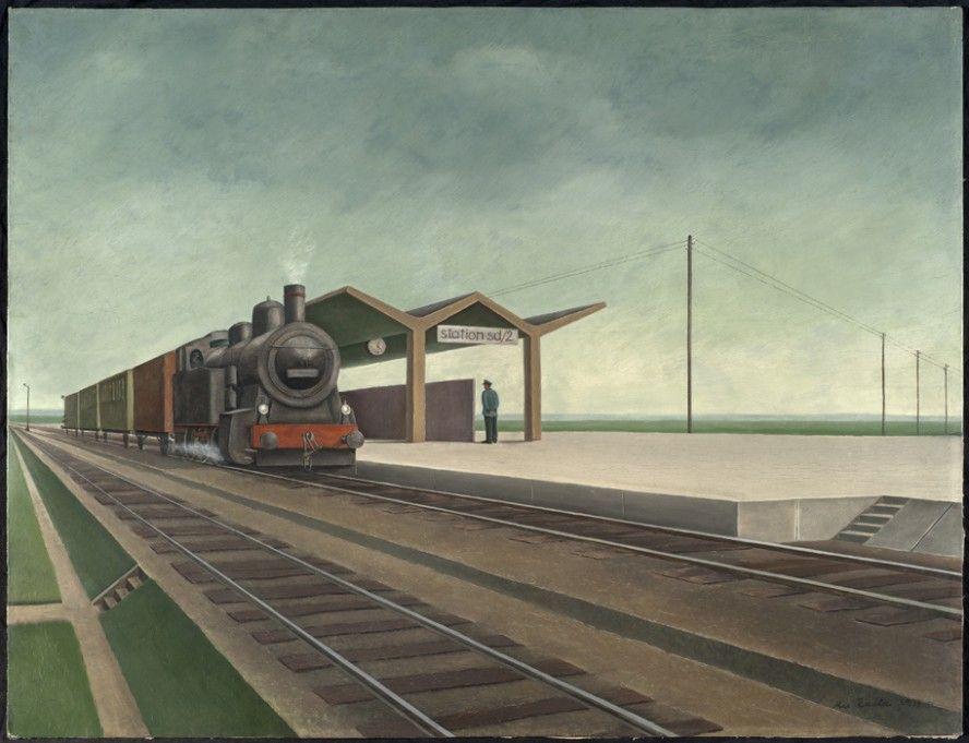 Max Radler (1904-1971) Station sd/2, 1933, oil on panel, 65 x 85 cm