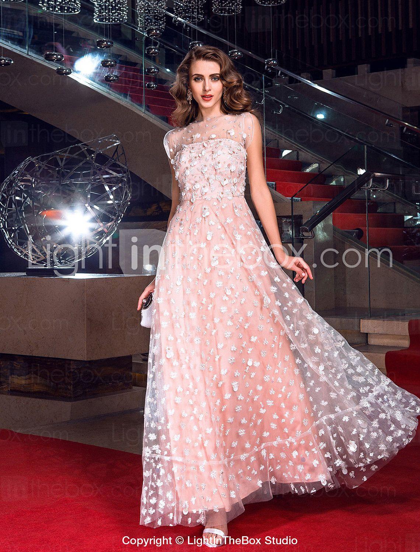 une ligne bijou rez-longueur robe de tulle de soirée inspirée par ...