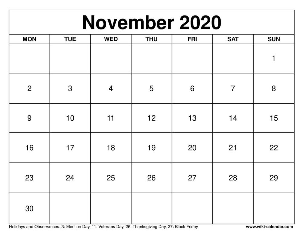 November 2020 Printable Monday Calendar Calendar August Calendar Calendar Download