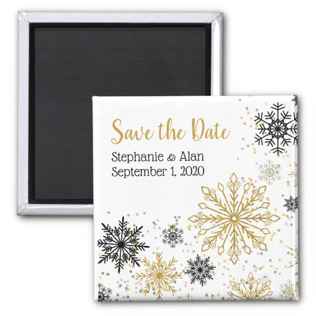 Golden Snowflake Winter Save The Date Magnet