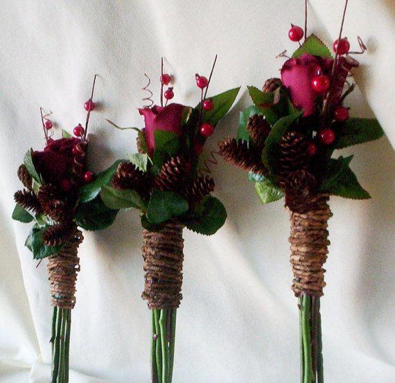 Winter silk wedding flowers 6 piece set bridesmaid bouquets ...