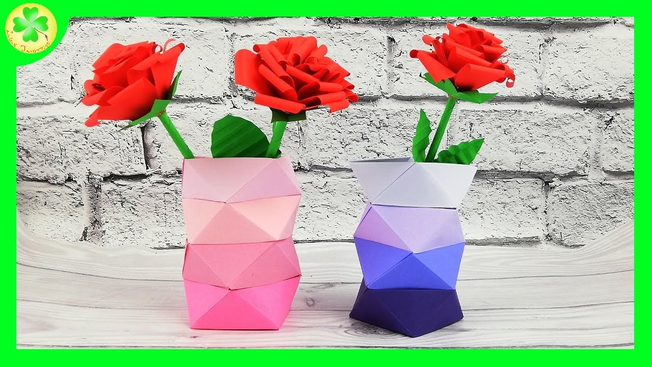 Papierowy Wazon W Stylu Ombre Origami Flowers Origami Flowers