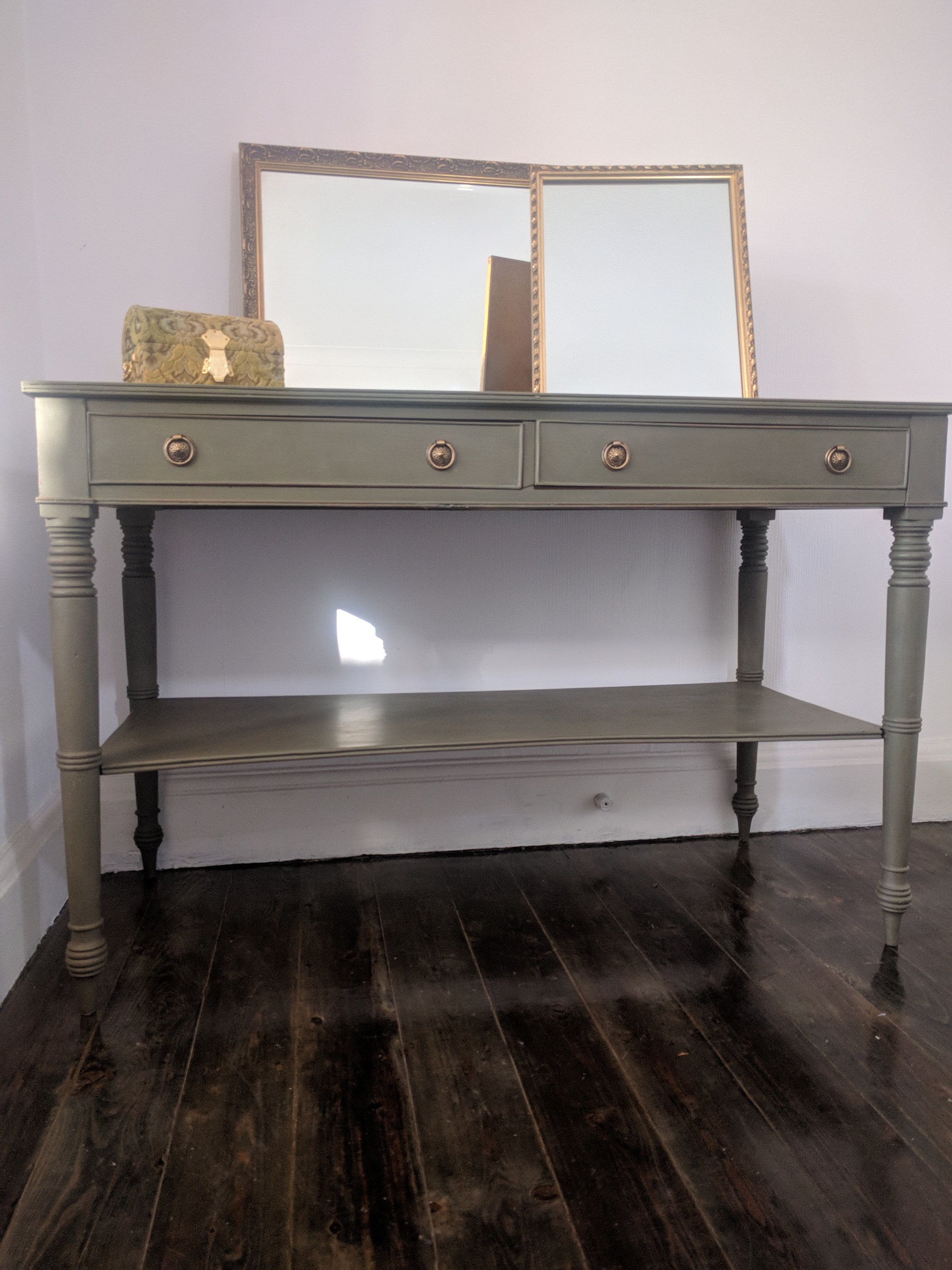 Painted Antique Console Table With Shelf Antique Console Table Console Table Shelves