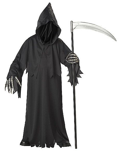 Scary Devil Costumes with hood Kids Halloween Ghost/&Reaper Cosplay Robe for boys