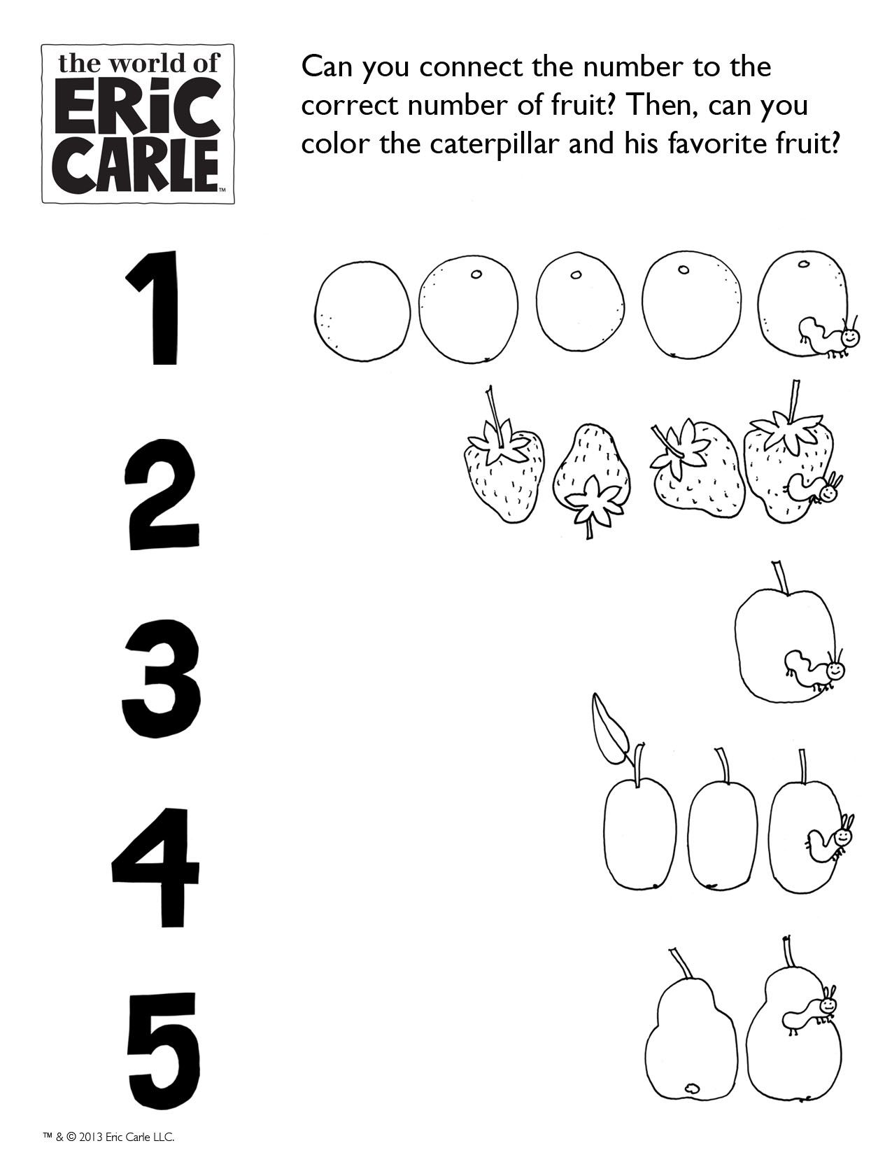6 Activity Connect The Fruit Very Hungry Caterpillar Activity Worldericcarle