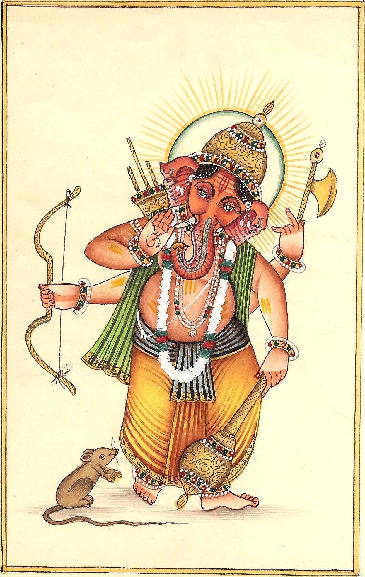 Sanskrit Of The Vedas Vs Modern Sanskrit: Warrior Ganesh Miniature Painting Handmade India Hindu