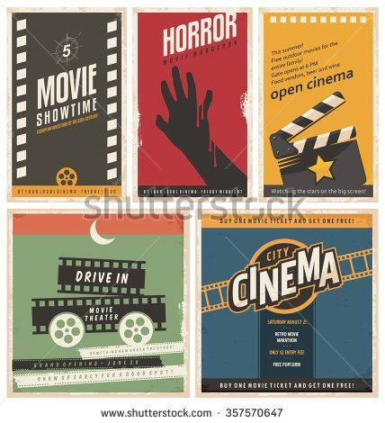 Retro Cinema Posters And Flyers Collection Vintage Movie Signs Layouts Promotional Film Printing Templates For Ads Or Banners On Old Pa Cinema Posters Vintage Movies Cinema