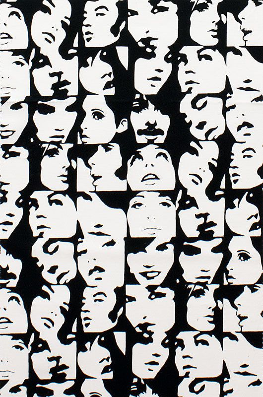 pop art faces in crowd black and white by