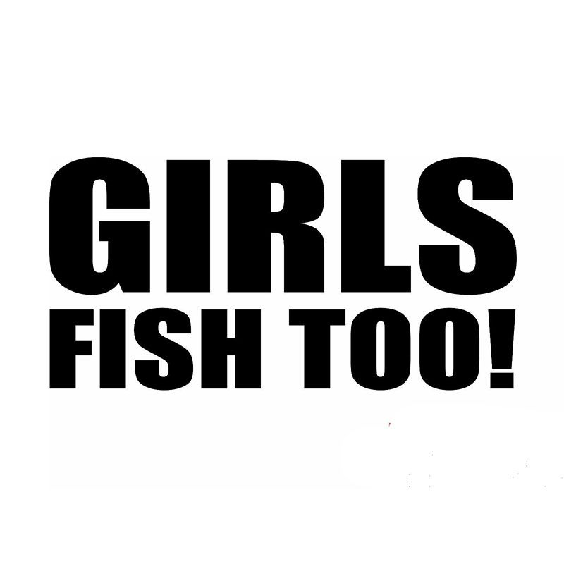 Wholesale 40 pcs lot x girls fish too fishing funny car sticker for truck window bumper auto door vinyl decal 9 colors