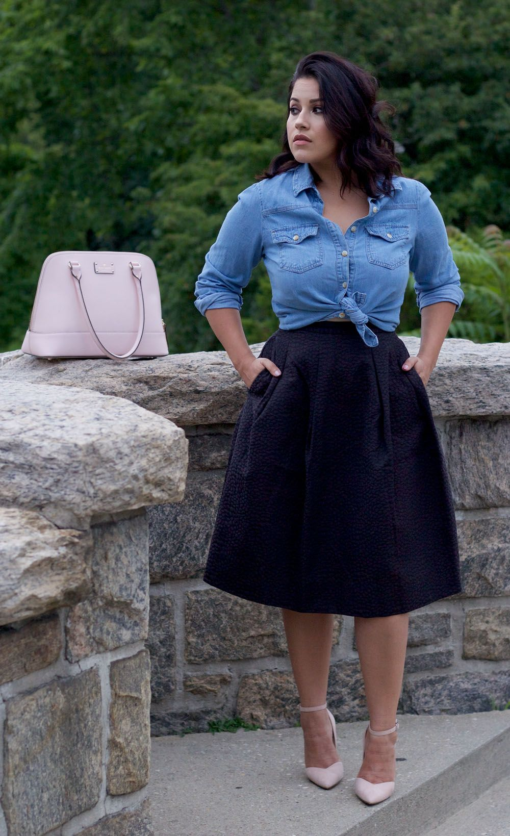 This skirt a little shorter at knee and a lighter color wear