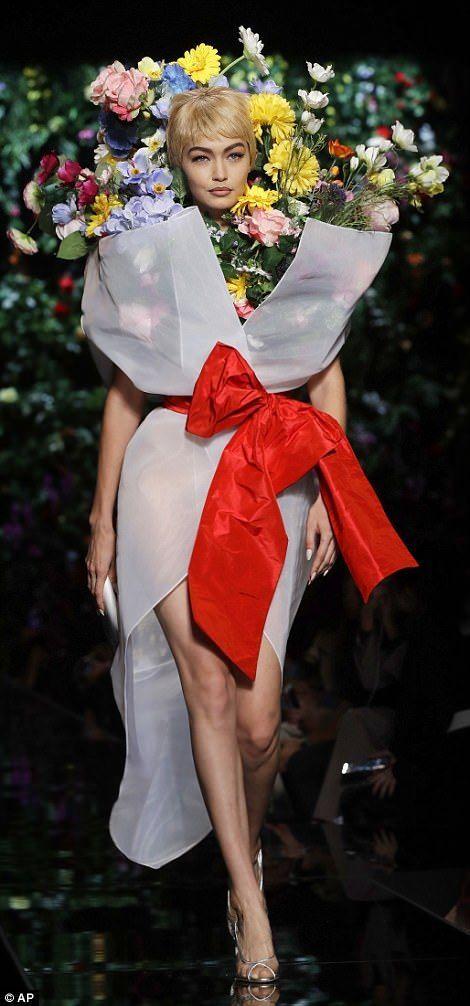 Gigi Hadid rocks flower dress at Moschino FW18 LFW show