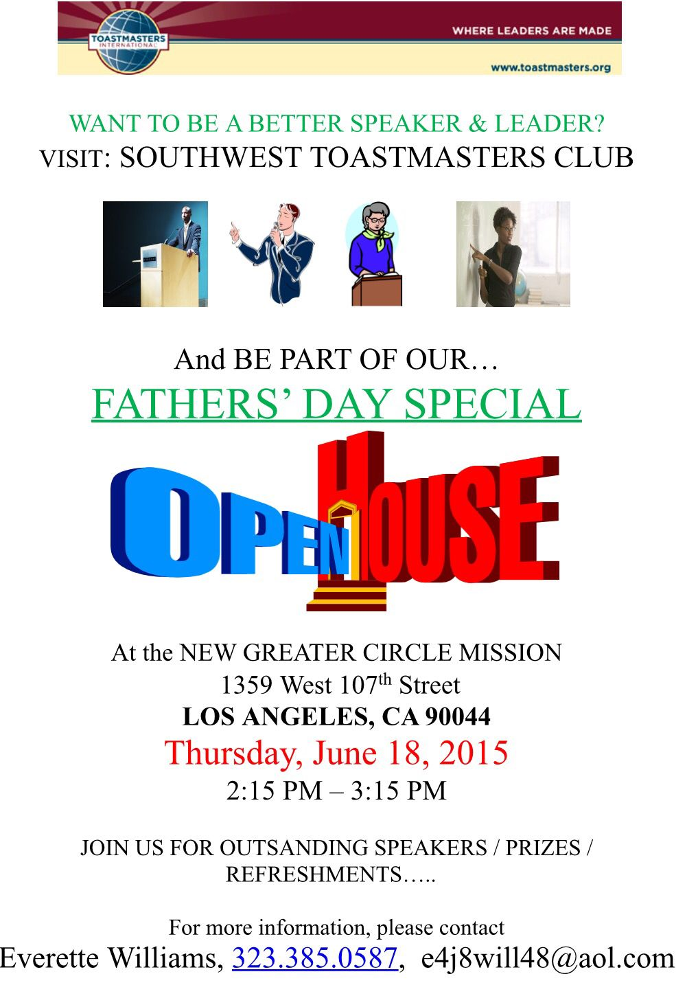 Next Thursday Afternoon Be A Part Of The Fathers Day Special Open House At Southwest Toastmasters Club See Fl Father S Day Specials Best Speakers Fathers Day