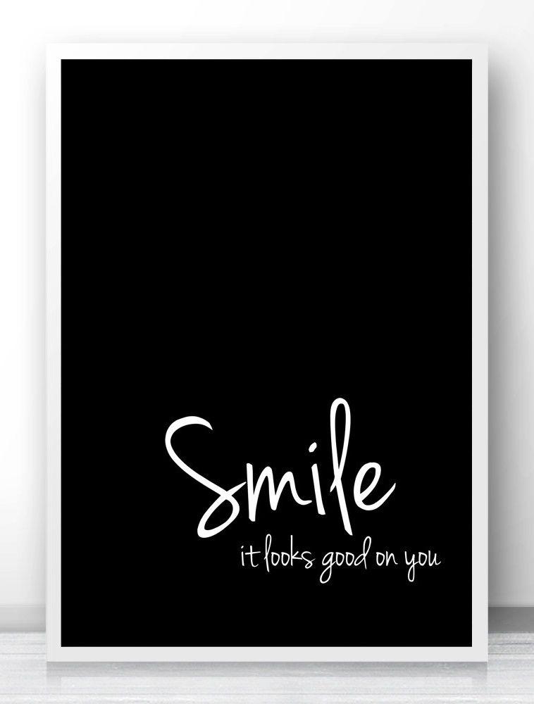 Smile It Looks Good On You Typography Quote Print, Black