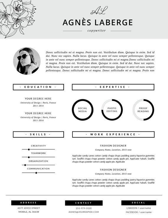 Floral Resume Design Fashion Cv Feminine Resume Stylish Etsy In 2021 Cover Letter Template Free Resume Template Cover Letter Template