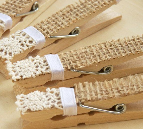 Burlap And Lace Clothespins -Pegs -DIY Wedding Accessory