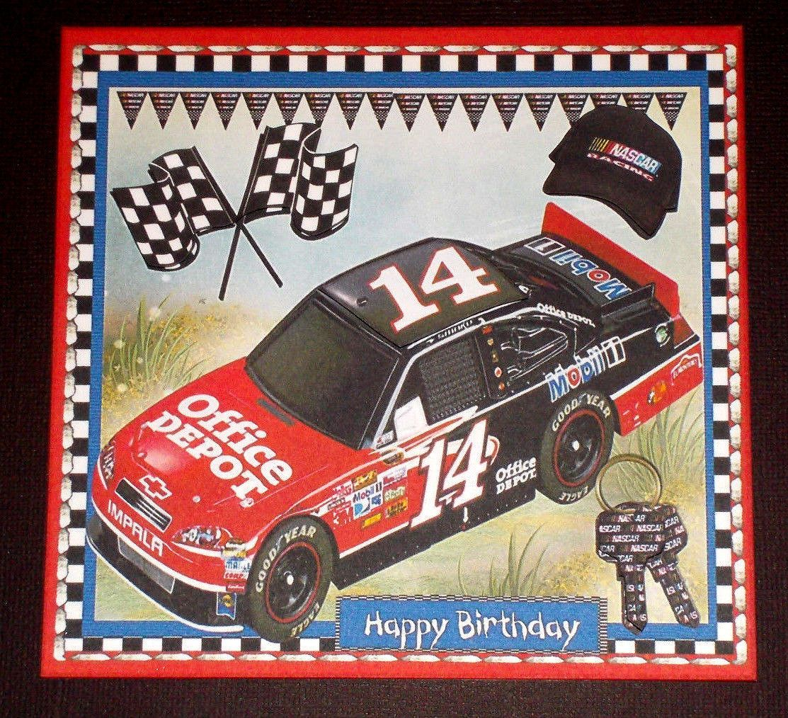 Handmade greeting card 3d all occasion with a nascar
