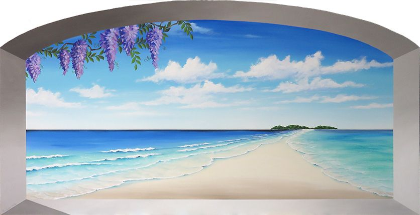 tropical marine trompe l'oeil mural painting, original ...