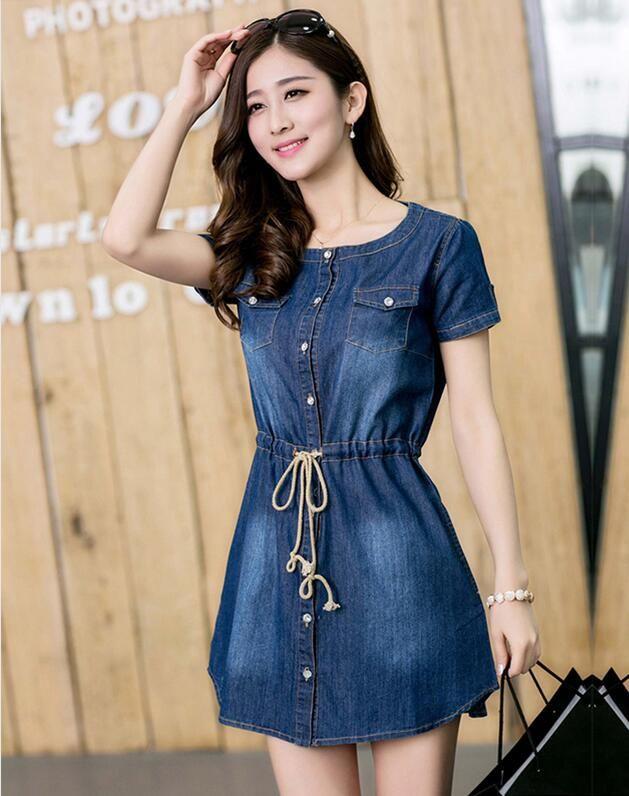 e42e3b2ae0e1 Cheap Pretty Girl Vestido de Mezclilla de Corea Vestidos de Verano ...