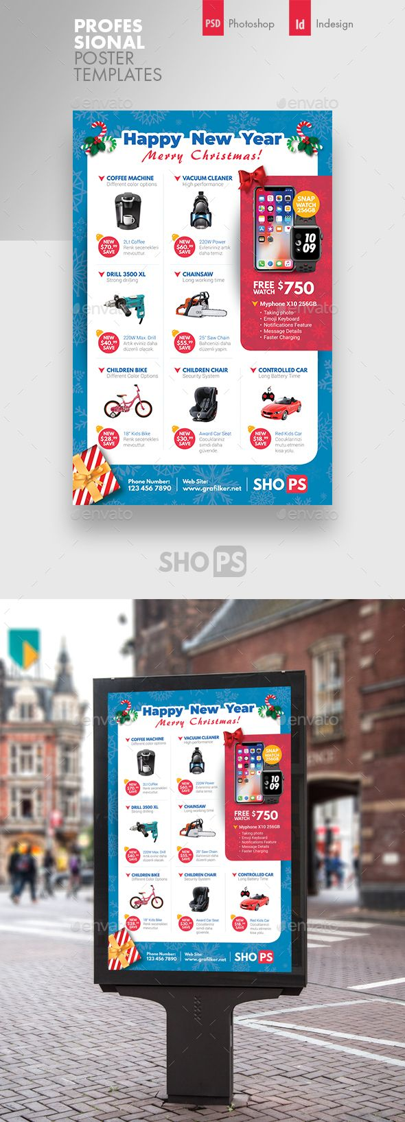 christmas products poster template psd indesign indd 300 dpi cmyk