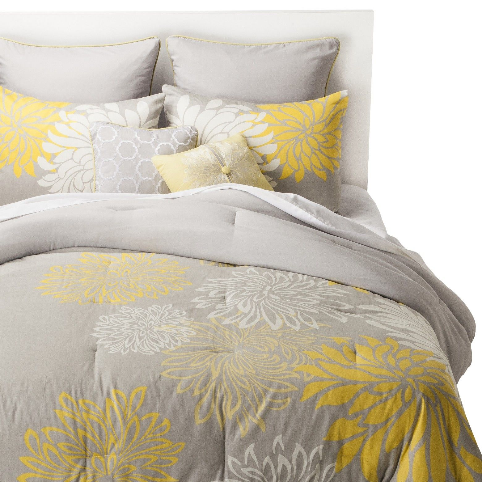The Anya 8Piece Floral Print Bedding Set in gray and