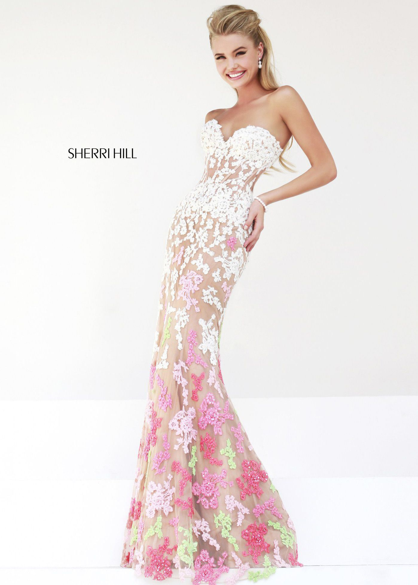 Sherri Hill 11134 - Ivory/Coral Lace Mermaid Prom Dresses Online ...