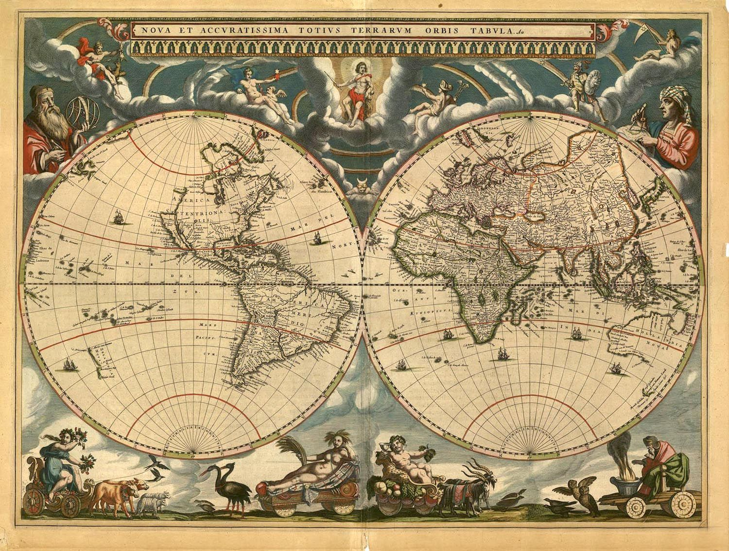 I love maps and i want to go everywhere travel 3 pinterest gallery direct fine art prints nova et accuratissima totius terrarum orbis tabula new and accurate map of the world 1664 by jan blaeu gumiabroncs Gallery