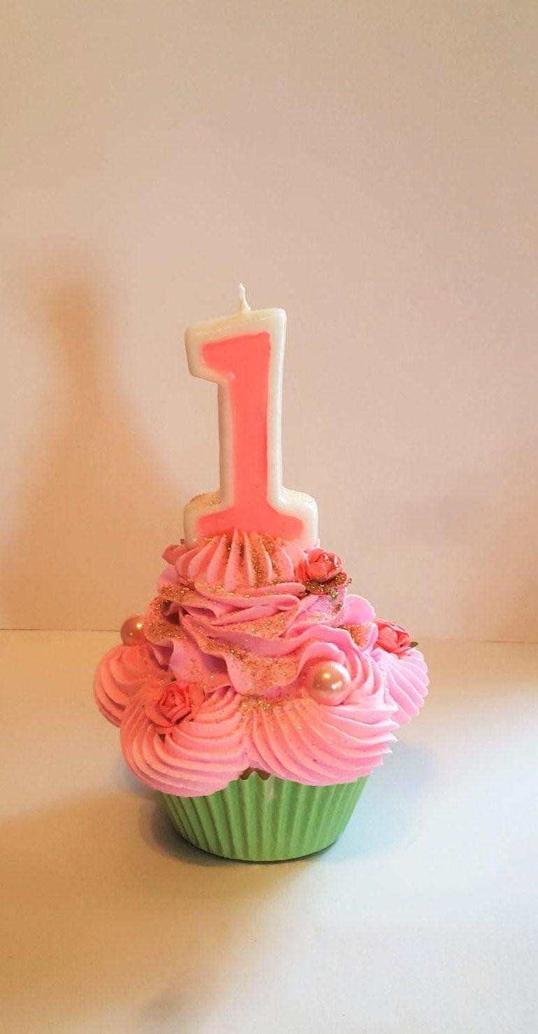 Girls First Birthday Fake Cupcake Number One Candle Smash Cake