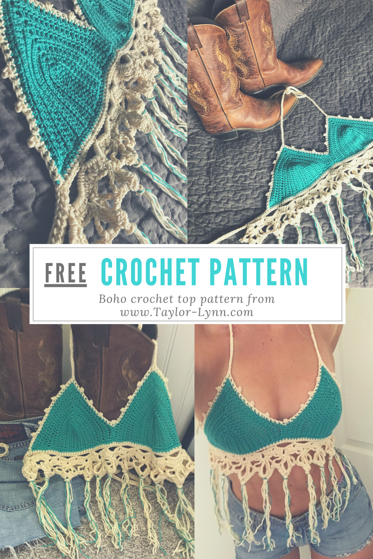 Free crochet pattern for a boho crochet top. The fringe and lace ...