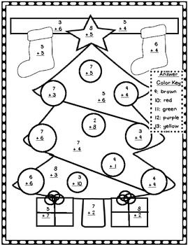 Christmas Addition Color By Number Christmas Addition Christmas Math Worksheets Christmas Math