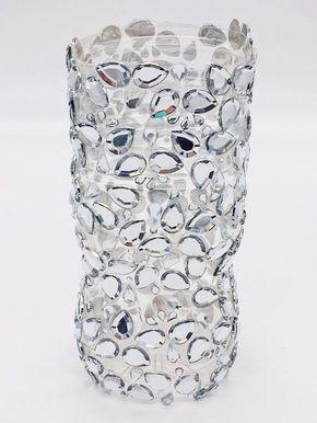 DIY Upcycling Vase Aus Plastikflasche Mit Glitzersteinen Selber Machen. DIY  Upcycling Idee. Vase Aus