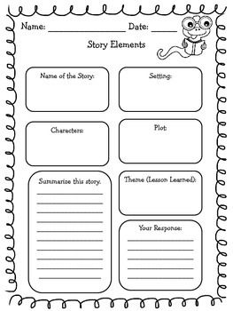 Enjoy this freebie!The document consists of a two graphic organizers assessing students' knowledge of character traits, plot, setting, and theme. I…