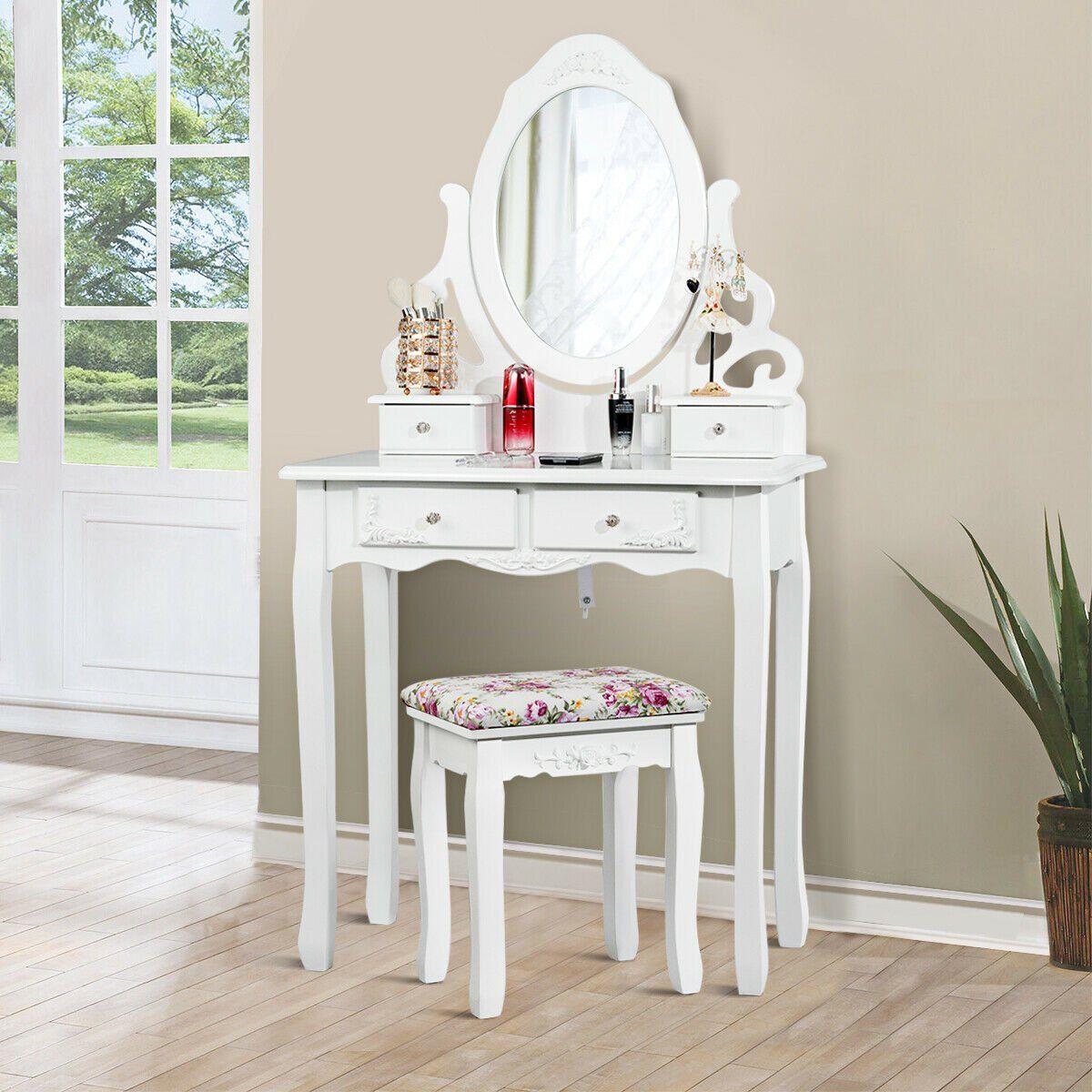 gymax bedroom wood vanity makeup dressing table stool set