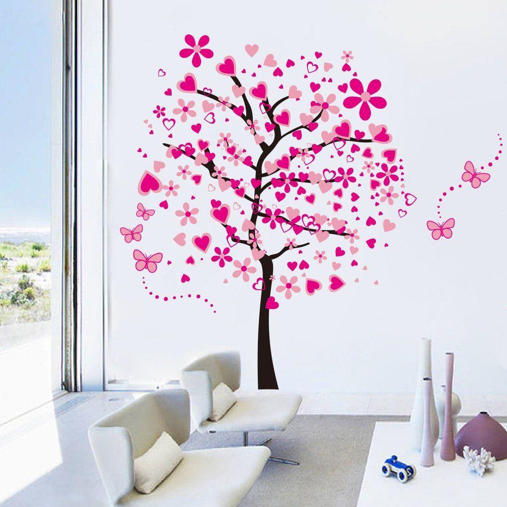 ufengke® Amore Albero Rosa Bella Farfalla Fiori Adesivi Murali ...