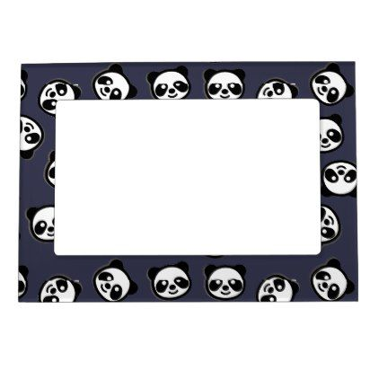 Cute Black and White Panda Cartoon Pattern Magnetic Photo Frame - black gifts unique cool diy customize personalize