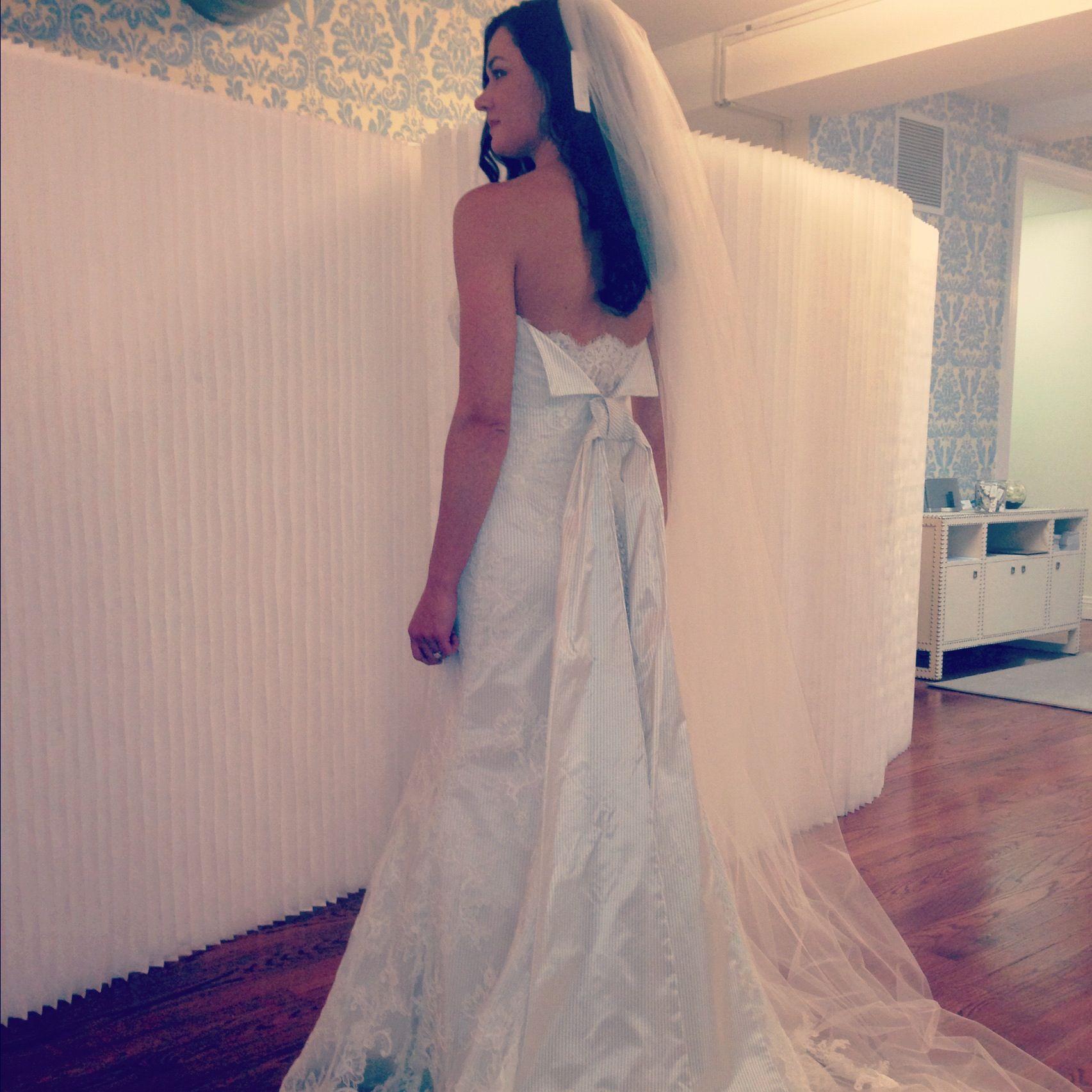 Light blue pinstripes on this Modern Trousseau gown. #bridalmarket