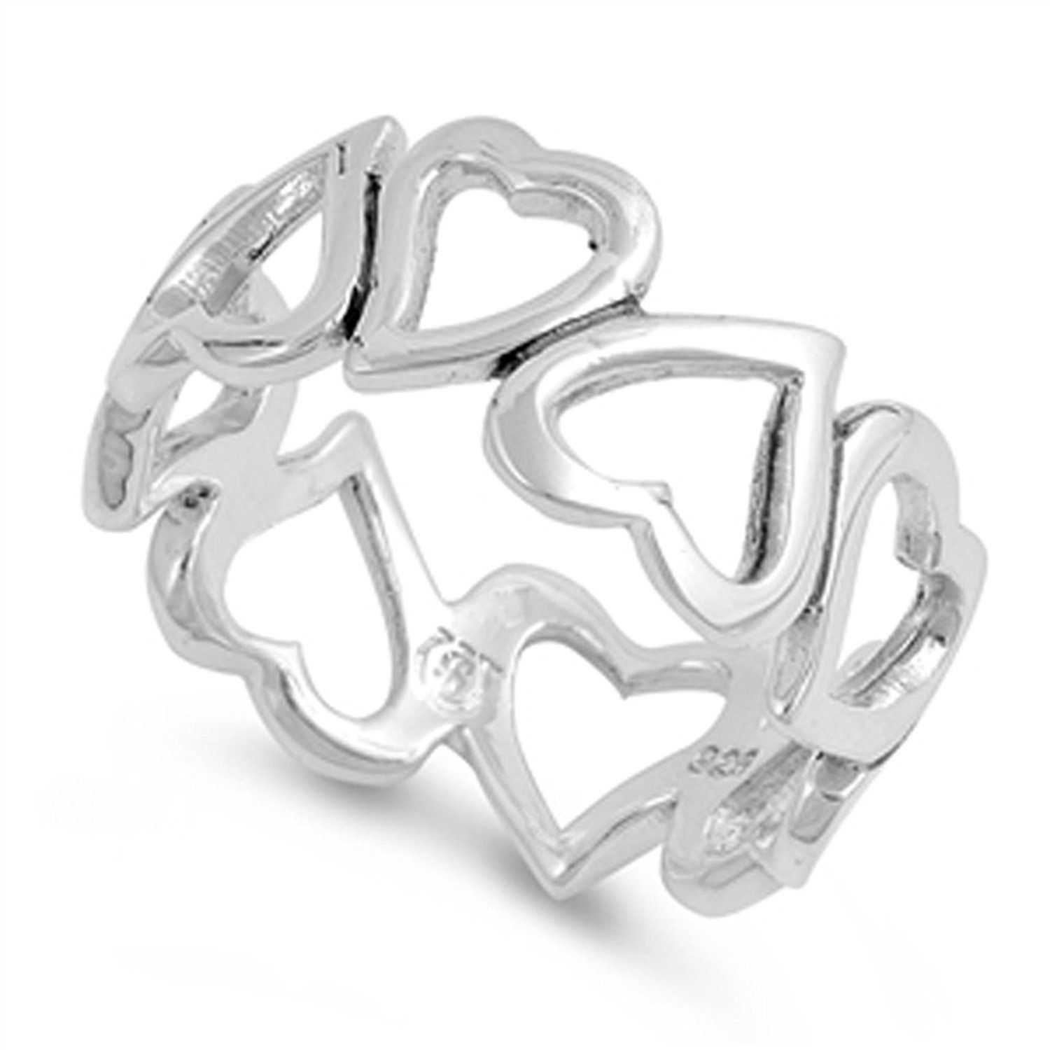 Heart Promise Ring New .925 Sterling Silver Love Band