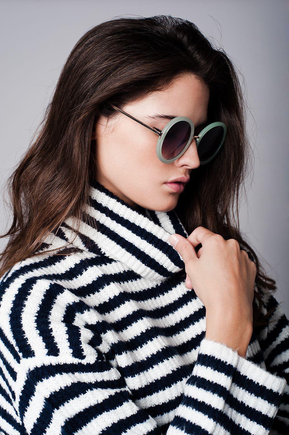 Cream striped roll neck sweater