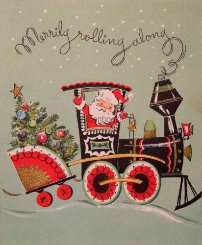 1476 50s Santa Railroad Train-Vintage Christmas Card-Greeting