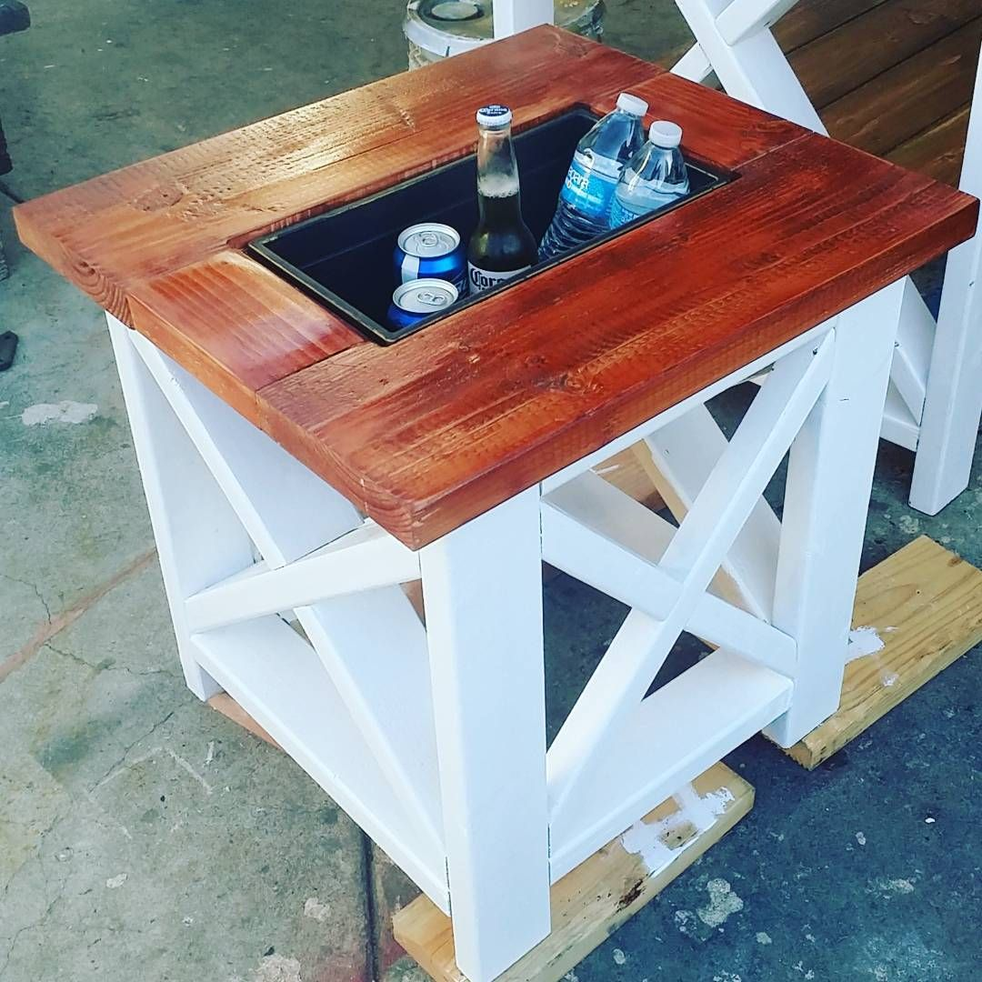 Small Table With Built In Cooler Rustic X End #