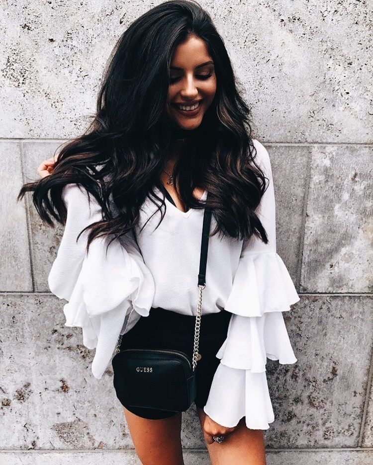 Pretty white ruffled blouse with black.   Winter 17-18   Pinterest ... af10faecc0ad