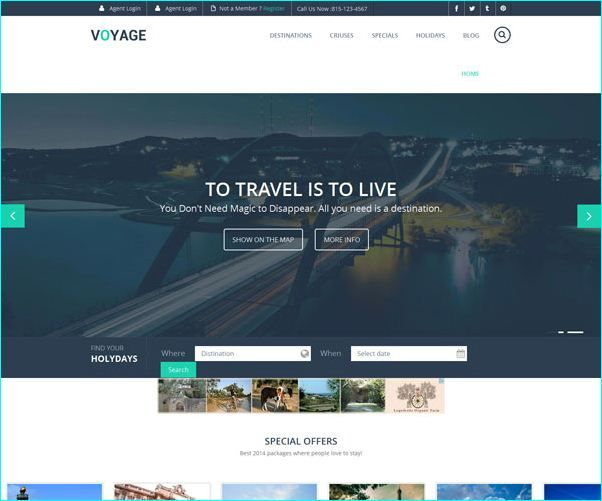 14 Free Travel Website Templates | Free Travel Website