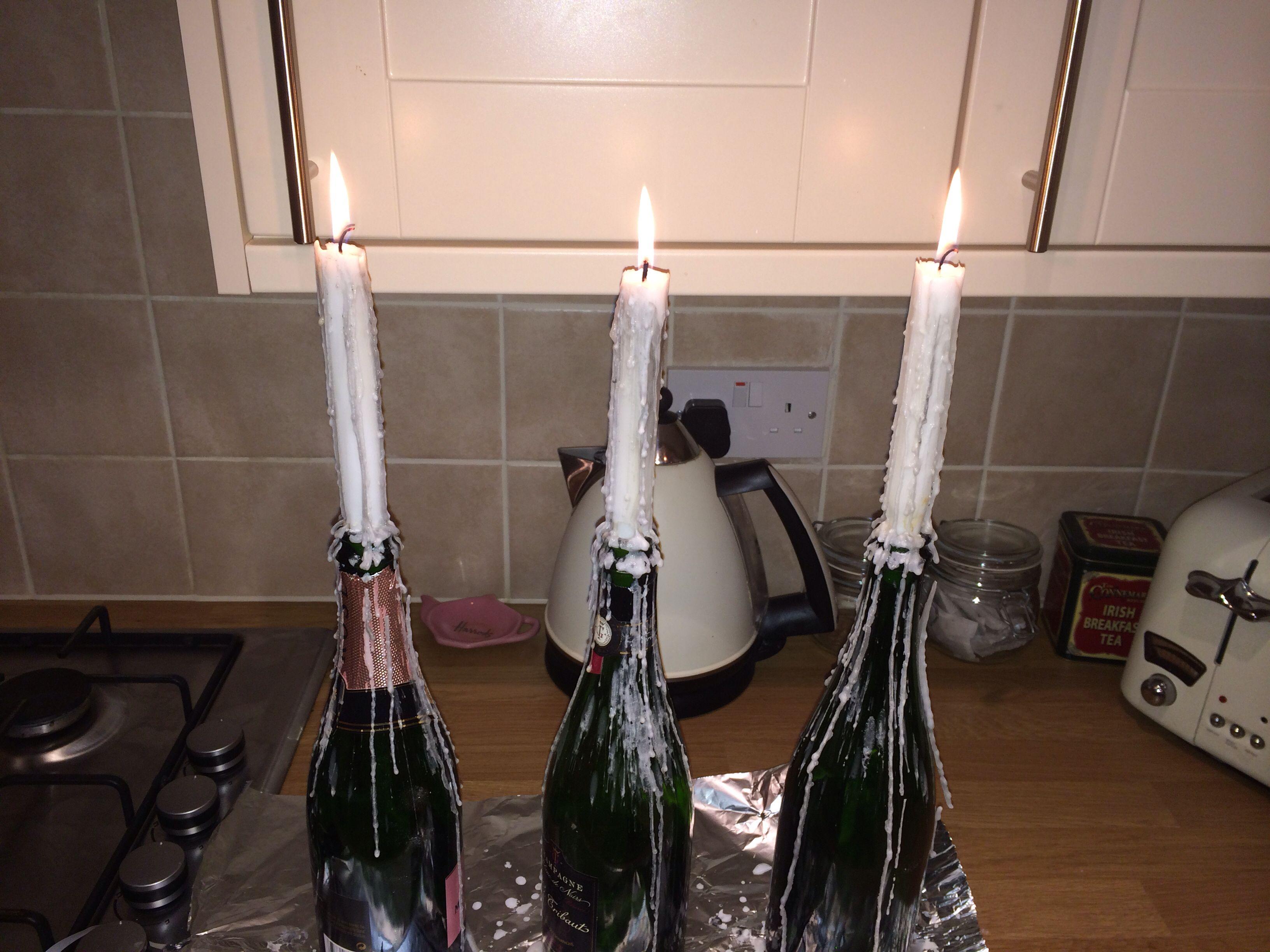 Champaign bottle candles