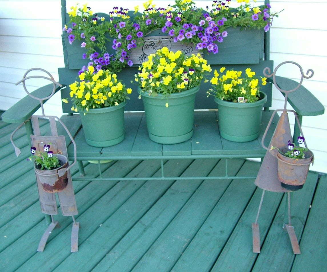 Flowers Pots On Bench On Front Porch Summer 2012 Front Porch Garden Porch