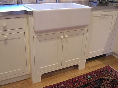 An Upmounted Farm Sink Is Set On The Sink Base Like A Low Basin With